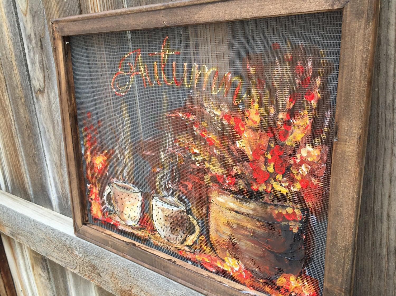 Autumn art fall decor outdoor art window screencoffee - Window decorations for fall ...