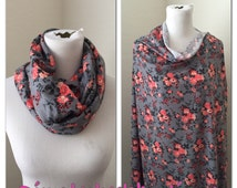 Nursing poncho cover- Gray and coral floral Breastfeeding scarf/shawl