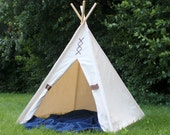 Natural Canvas Teepee Play Tent, Lacings and Canvas Door Ties, Kids Tepee Playhouse, NO METAL COMPONENTS, Poles Included