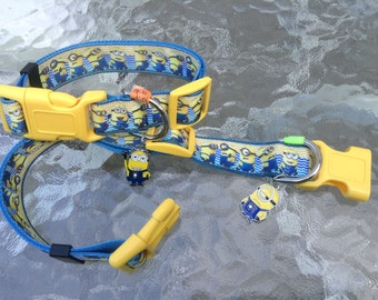The MINIONS are here!  Adjustable dog collar with Minion bling charm