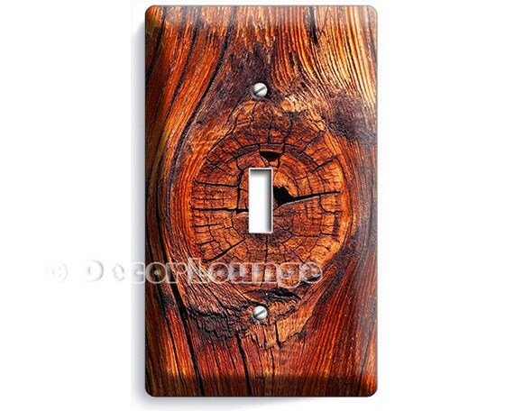Rusted old wood eye rustic planks single light switch wall
