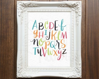 Nursery Wall Art Printable, Instant Download File, Alphabet Art, 8x10 home decor print