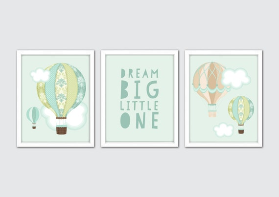 Hot Air Balloon Nursery Art, Hot Air Balloon Decoration,Hot Air Balloon Wall Art Print, Hot Air Balloon Decor, Drem Big Little One Print