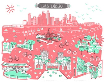 Wall Art-San Diego-Art Print-3 Color-City Illustrations-10x8-Coral-Mint Green-Grey