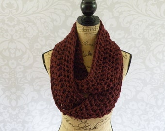 Ready To Ship Infinity Scarf Crochet Burgundy Dark Red Long and Thick Women's Accessories Eternity Fall Winter