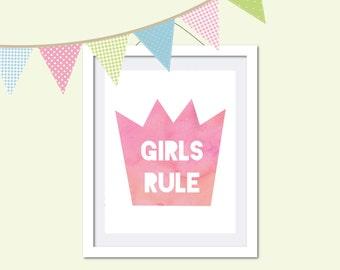 Girls Rule in Crown, Nursery Print, Girls room art, Pink watercolor, Kids room, Decor, Nursery art, Quotation print - Girls Rule Crown