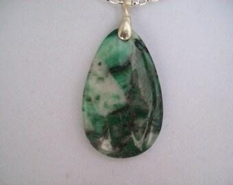 Green Agate Teardrop Stone Pendant