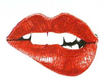 "Fine Art giclee print, (marker) drawing, biting lip, ""Rouge Awakening"""