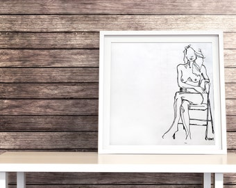 "Fine Art Print, Giclee, Marker Drawing, nude woman sitting in chair, ""Tolerant"""
