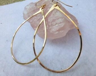 Large teardrop 14k gold fill hoops- Gold hoops
