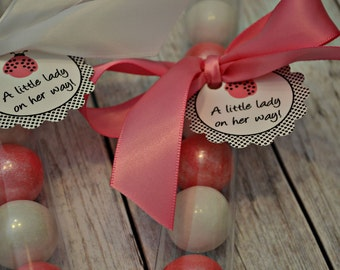 Ladybug Pink and White Shimmer Gumball Tube Favors - Ladybug Party Favor - Ladybug Baby Shower Favor - 1st Birthday Party Favor - Ladybug