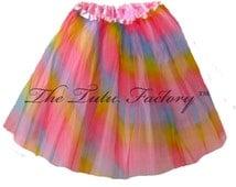 PASTEL RAINBOW Tutu . XSmall thru XLarge Size Adult Ballet Tutu Skirts