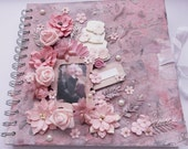 Wedding album / wedding book / mixed media/ love / romantic book / pink flowers / pink wedding