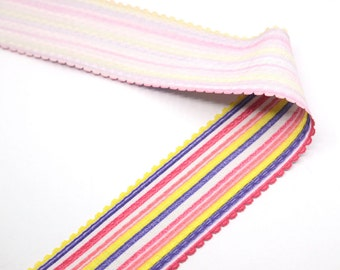 """2"""" 50mm wide Colorful Stripes Soft Elastic,Waistband Elastic, Elastic Band,Elastic Ribbon,Sewing Elastic By the Yard 24070"""