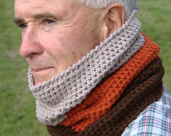 Crochet Pattern - Mens Cowl Pattern Mens Crochet Cowl Scarf Pattern Neck Warmer Pattern  - Colorblock Cowl P134