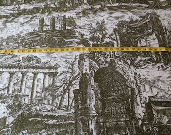 1960s 2.80 Yards Scenic Print Toile Fabric Olive Cream Ancient Roman Ruins