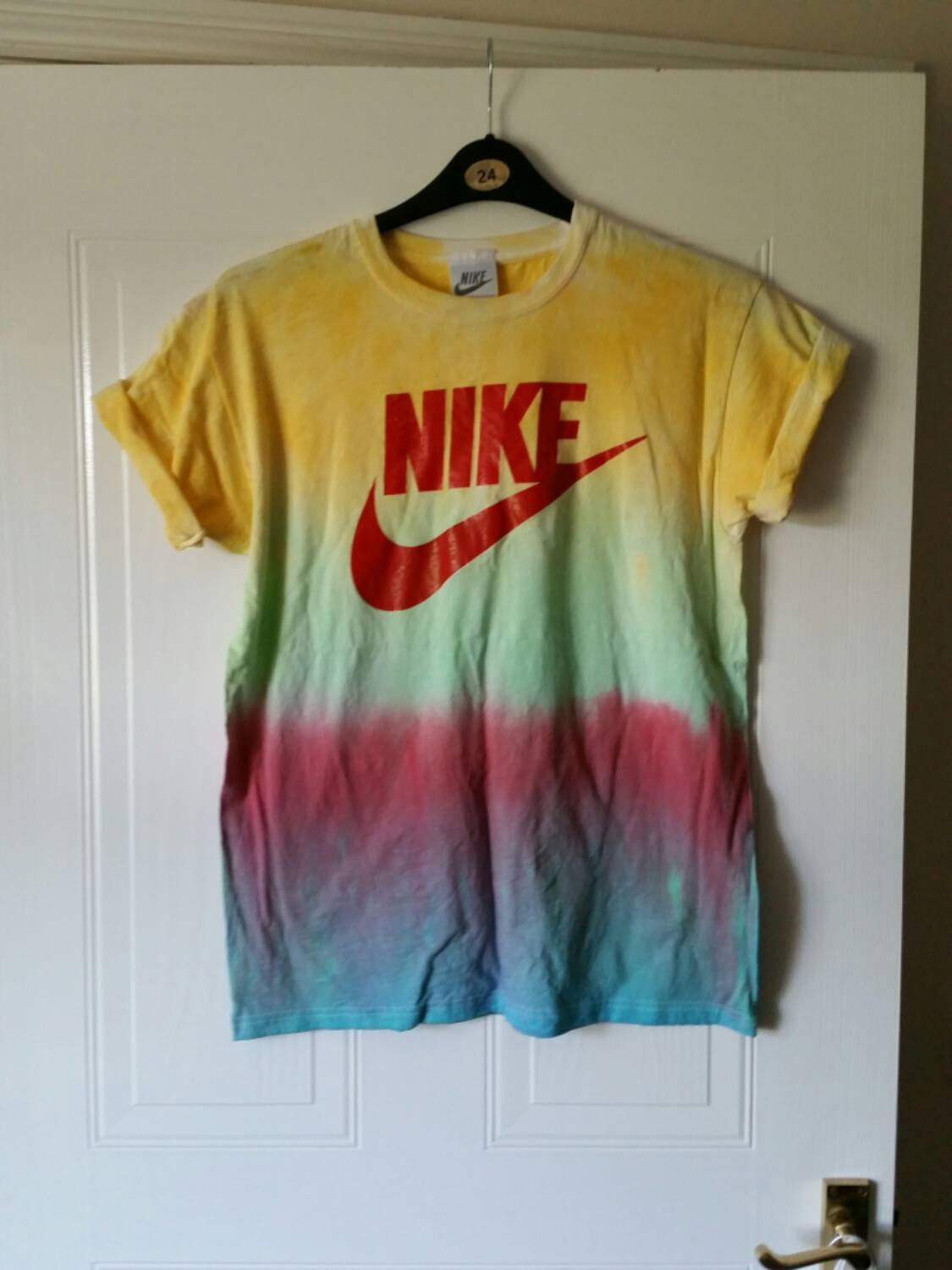 Unisex customised acid wash tie dye nike t shirt by for How to wash tie dye shirt after dying