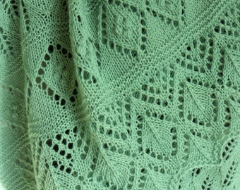 Hand made Estonian Lace Blueish-Green wool Shawl