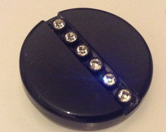 Vintage Black Early Plastic And Clear Rhinestone Altered Brooch