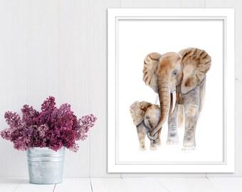 Mom Baby Elephant, Elephant Nursery Art, Animal Art, Safari Nursery, Baby Elephant, Elephant Watercolor, Gray, Brown, 11x14