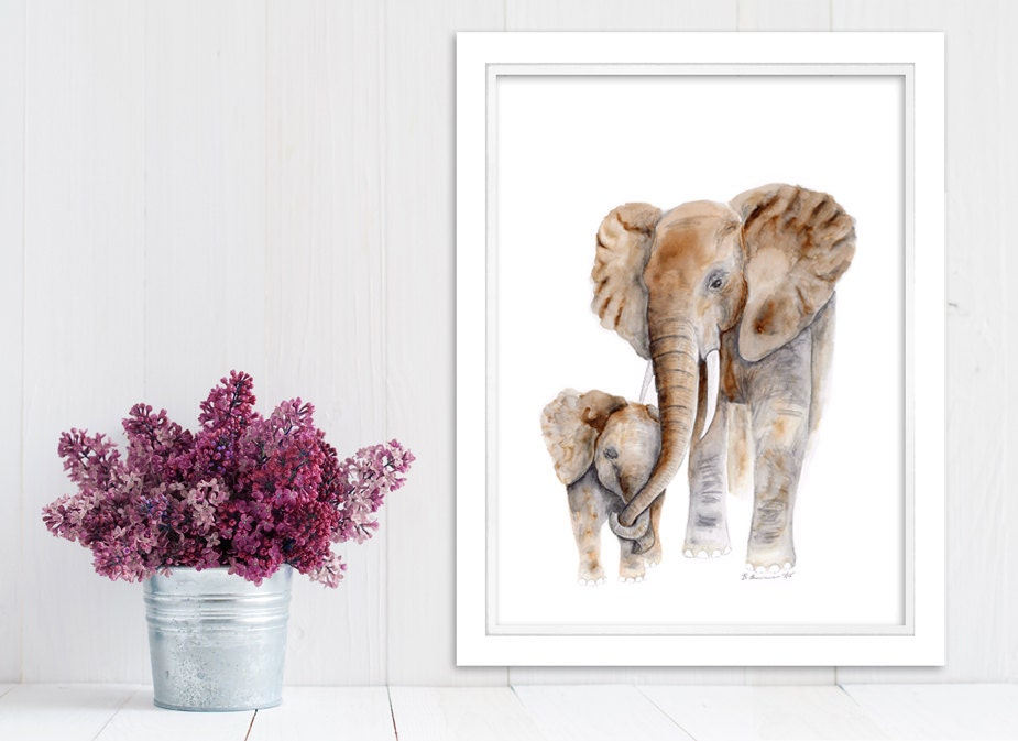 Mom Baby Elephant Elephant Nursery Art Animal Art Safari