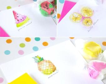 Fruit Stationery Set - Custom Notecards - Watercolor Stationary Set - Cute Note Cards - Fruit Notecard Set - Watercolor Notecards