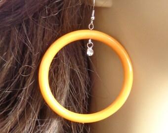 VINTAGE HOOP earrings Melon ORANGE Earrings Hoop Earrings Pipe Hoops 3 in l 2.5 in w