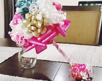 Pink, Silver, White, Turquoise Bridal Shower Gift Wrap Rehearsal Bouquet - Bridal Shower Decorations