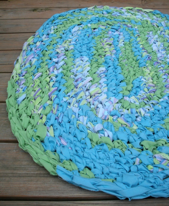 40x28 Hand Crocheted Oval Rag Rug Blue And