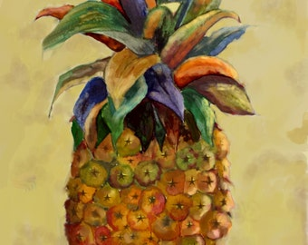 """This is a print of my original watercolor painting titled """" The Pineapple""""  Available in 5x7, 8x10,11x14,16x20,wrapped canvas, note cards"""
