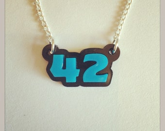 The Hitchhikers Guide to The Galaxy Meaning of Life 42 Acrylic Necklace