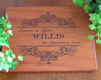 Personalized Cutting Board, Custom Engraved, Mahogany, Wedding Gift, Housewarming Gift, Anniversary Gift, Birthday Gift, Vintage Ornament