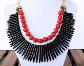 Black and Red Howlite Spike Statement Necklace- Black Statement Necklace-