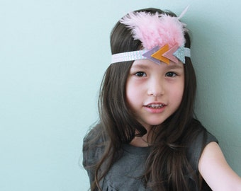 Feather triangle indian headband hairband