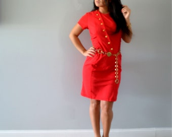 Vintage Red Rouched Dress Gold Buttons Knee Length Office Wear