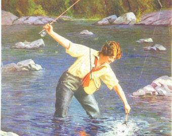 Original Vintage L Goddard River Fishing Calendar Print