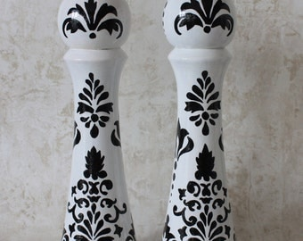 10 inch Set  Hand painted Pepper Mill  and salt Shaker OOAK DAMASK Black & white