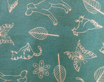 Moda Fabric - SUMMERSVILLE SPRING By Lucie Summers - Max and Ginger - Aqua  - Kids - Quilting - Sewing - I Spy - Dog - Cat - Butterfly