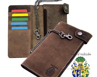 Men's Wallet ELLISON with chain - brown leather - BARON of MALTZAHN