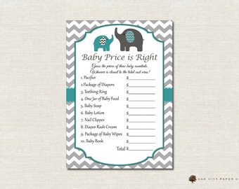 Elephant Price is Right Baby Shower Game - Elephant Theme, Baby Shower Price is Right, Baby Price is Right, Price is Right Game, Printable