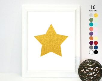White and Gold Star Poster, Print, 5x7 8x10 11x14 Modern Wall Art Star Country Ranch Gold Star Home Decor Gallery Wall Art Gold Star Nursery