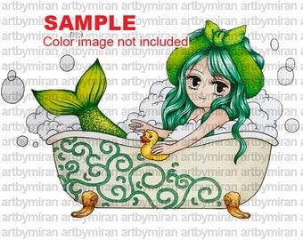 Mermaid Digital Stamp(#13), Digi Stamp, Coloring page, Printable Line art for Card and Craft Supply, Art by Mi Ran Jung
