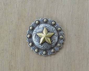 "Leather hardware 1 1/4"" Texas Star Berry Western Concho NEW 65133"
