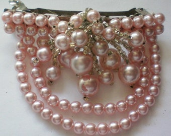 Pink Faux Pearl Hair Ornament or Clip - 4033