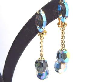 Vintage Lewis Segal Blue Crystal Dangle Earrings Signed 60s