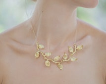 Gold Leaf Branch Necklace Leaf Branch Jewelry Woodland Necklace Woodland Jewelry Statement Necklace Woodland Weddings Nature Spring Gifts