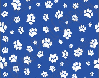 Blue with white paw prints craft  vinyl sheet - HTV or Adhesive Vinyl -   pattern HTV603