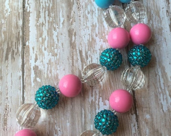 Teal and pink chunky bead necklace.. Chunky bead necklace.. Teal and pink necklace.. Girls necklace.. Toddler necklace