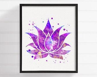 Lotus Art Print, Watercolor Lotus Flower, Lotus Poster, Lotus Painting, Lotus Illustration, Yoga Studio Decor, Zen Decor, Buddha Wall Art