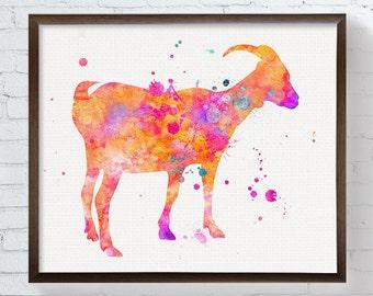 Watercolor Goat, Goat Art Print, Goat Painting, Goat Poster, Goat Wall Decor, Nursery Wall Decor, Farm Animals, Farmhouse Decor, Colorful